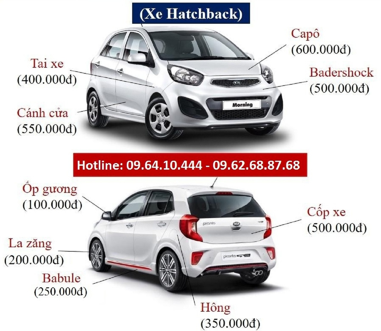 Chi phí, bảng giá chi tiết dịch vụ sơn xe ô tô tháng 9 - 2020
